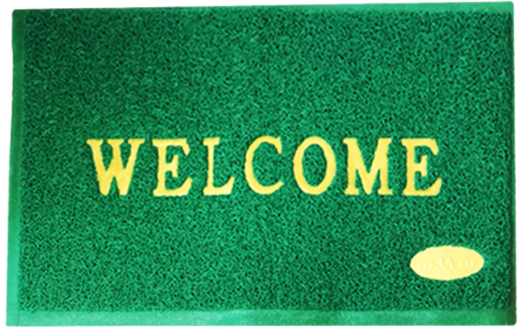 a welcome mat that simulates grass in its color and texture indicates you should click to begin